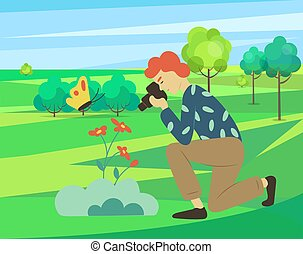 Photograph taking photo with camera vector, character on nature city park, outside leisure. Man photographer looking on flowers and butterflies through lens hobby of people