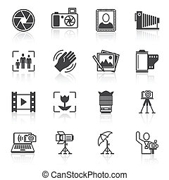 Photography icons black - Photography equipment camera photo...