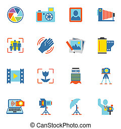 Photography Icons Flat - Photography equipment digital...