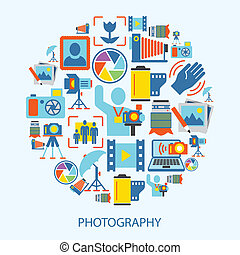 Photography icons flat - Photography photo equipment mode...