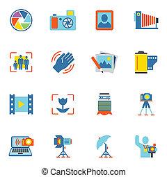 Photography Icons Flat - Photography equipment digital...