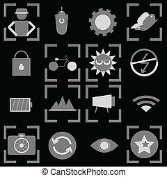 Photography icons on black background
