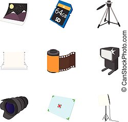 Photography icons set, cartoon style