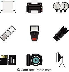 Photography icons set, flat style