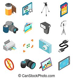 Photography icons set, isometric 3d style