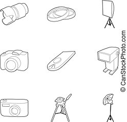 Photography icons set, outline style