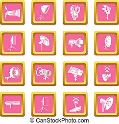 Photography icons set pink square vector