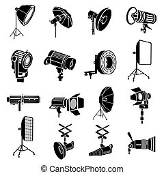 Photography icons set, simple style