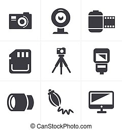 Photography Icons Set, Vector Design
