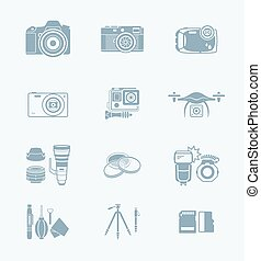Photography icons || TECH series - Digital camera and camera...