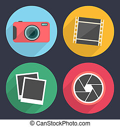 Photography icons with long shadow. Set 2