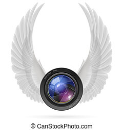 Photography inspired - Photo camera lens with raised up ...