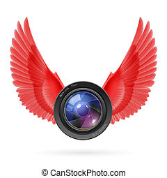 Photography inspired - Photo camera lens with red wings ...