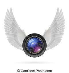Photography inspired - Photo camera lens with white wings...
