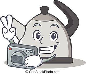 Photography kettle character cartoon style vector...