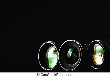 Close up shots of lenses for photography camera. Great Image for conceptual photography theme