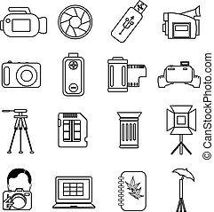 photography line icons set