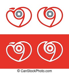 Photography logo. Camera icon with heart and shutter. Love theme.