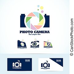 Vector company logo icon element template photography camera aperture shutter set photo photographer studio bubble