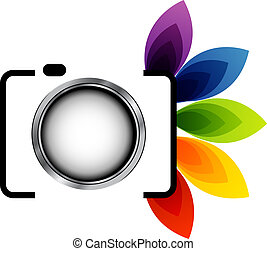 Photography logo with colorful leaves
