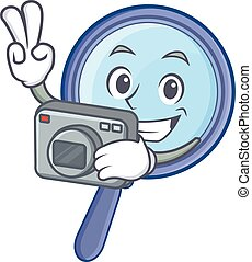 Photography magnifying glass character cartoon