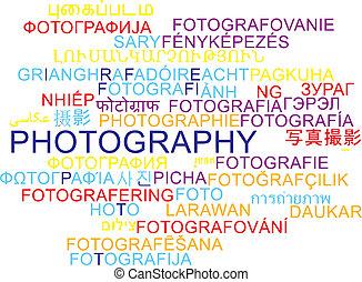 Photography multilanguage wordcloud background concept -...