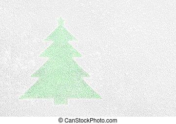 Christmas Tree on a frozen window.
