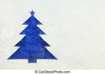 Christmas Tree on a frozen window