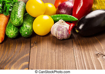 Photography of different vegetables on old wooden table
