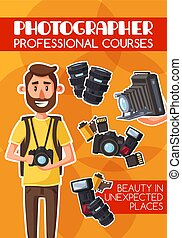 Photography professional courses, cartoon vector -...