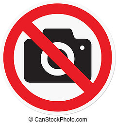 Vector illustration of photography prohibited symbol, for theater or museum