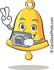 Photography school bell character cartoon