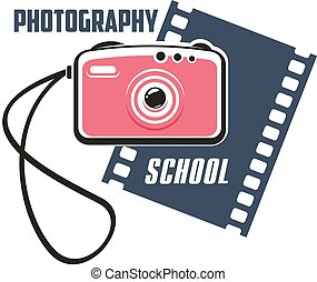 Photography school sign with photo camera