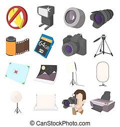 Photography set icons, cartoon style