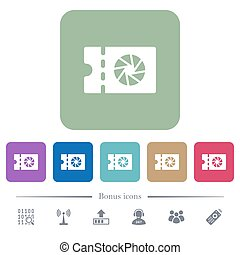 Photography shop discount coupon flat icons on color rounded...