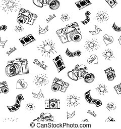 Photography sign and symbol doodles hand drawn set elements vector illustration .