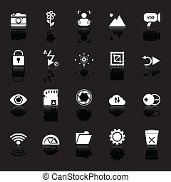 Photography sign icons with reflect on black background