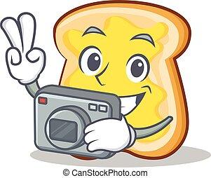 Photography slice bread cartoon character vector art...