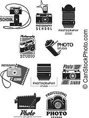 Photography studio icon set with photo camera