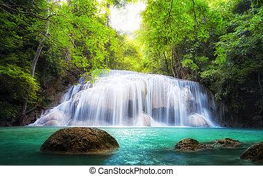photography., természet, tropical víz, vízesés, thaiföld, friss