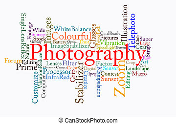 photography text cloud in white background