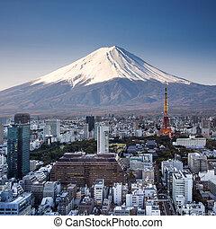 photography., tokyo, topp, fuji, surrealistisk, solnedgång, japan, montera, synhåll