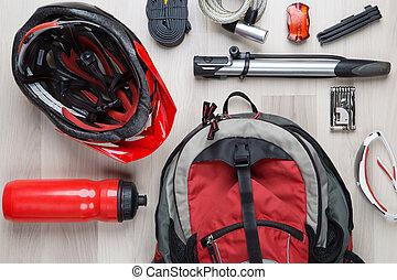 Photography top of biker accessories