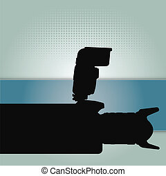 Photography vector background with a silhouette of the camera