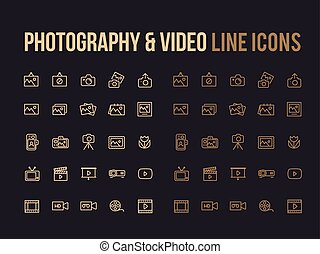 Photography, Video vector line icon for app, mobile website responsive