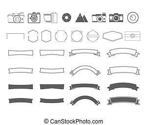 Photography vintage and retro symbols, ribbons, frames, elements. Make your own icons, badges, labels set. Vector camera logo templates.