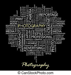 PHOTOGRAPHY. Word cloud illustration. Tag cloud concept collage.