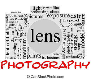 Photography Word Cloud Concept inside a camera shape with great terms such as lens, dslr, art, photographer, model, iso, strobes, flash and more