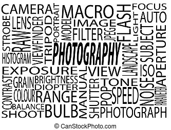 Photography words. A poster with a bunch of photography words. on mean words, tons of words, abundance of words, plenty of words, a bunch symbols, none of words, cluster of words, who made words, a bunch synonyms, lots of words, comment about words,