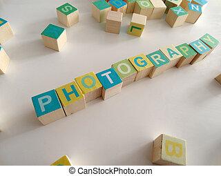 photogtaphy, bois, écrit, cubes, coloré